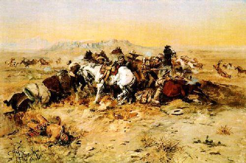 Charles M Russell A Desperate Stand Germany oil painting art