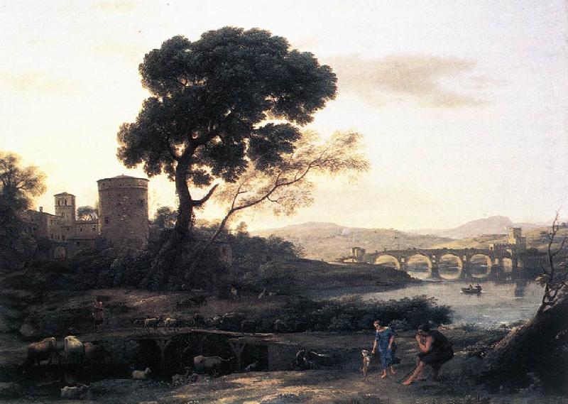 Claude Lorrain Landscape with Shepherds   The Pont Molle fgh oil painting image