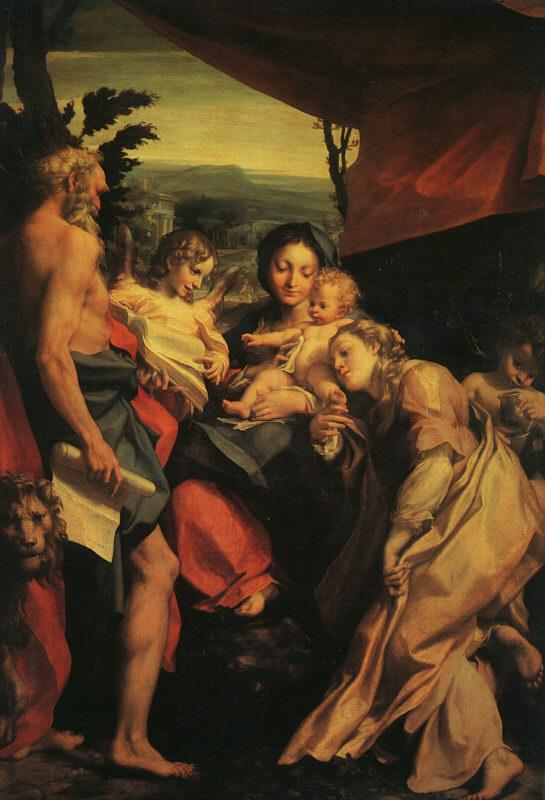 Correggio Madonna with St.Jerome oil painting image