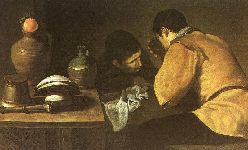 Diego Velazquez Two Men at a Table oil painting image