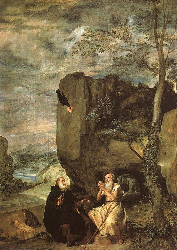Diego Velazquez Saint Anthony Abbot Saint Paul the Hermit oil painting image