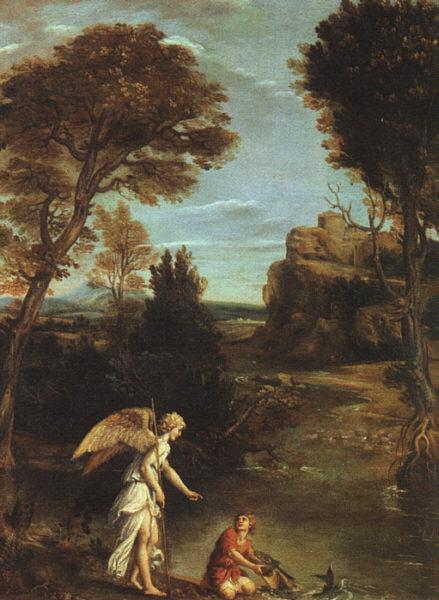Domenichino Landscape with Tobias Laying Hold of the Fish oil painting image