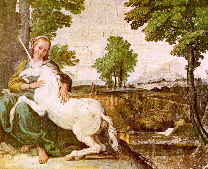 Domenichino The Maiden and the Unicorn oil painting image