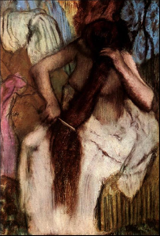 Edgar Degas Seated Woman Combing her Hair oil painting image