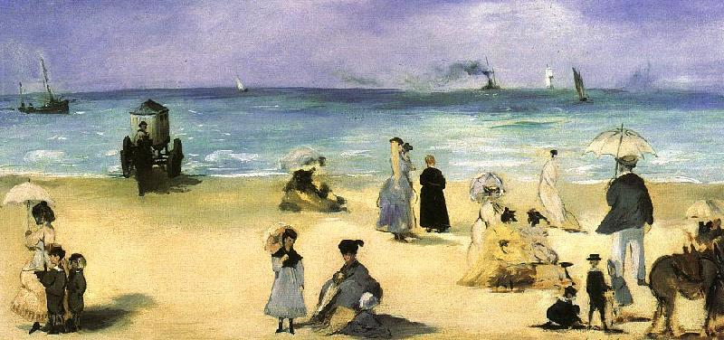 Edouard Manet On the Beach at Boulogne oil painting image
