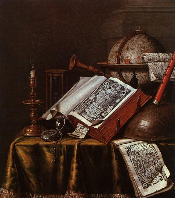 Edwaert Collier Still Life with Musical Instruments, Plutarch's Lives a Celestial Globe oil painting image