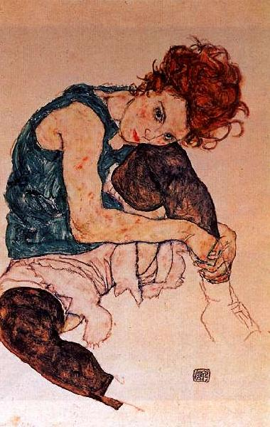Egon Schiele Seated Woman with Bent Knee Germany oil painting art