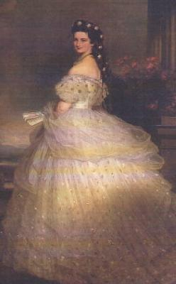 Franz Xaver Winterhalter Empress Elisabeth of Austria in White Gown with Diamond Stars in her Hair oil painting image
