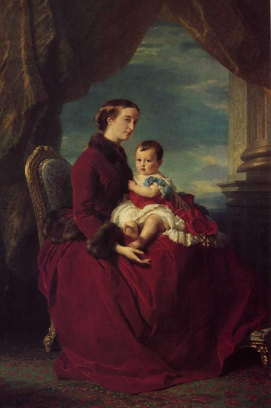 Franz Xaver Winterhalter The Empress Eugenie Holding Louis Napoleon, the Prince Imperial on her Knees oil painting image