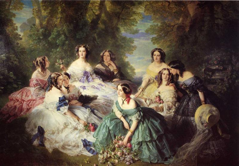 Franz Xaver Winterhalter The Empress Eugenie Surrounded by her Ladies in Waiting oil painting image