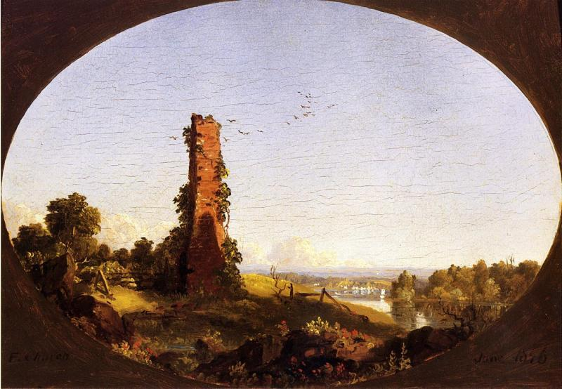 Frederic Edwin Church New England Landscape with Ruined Chimney oil painting image
