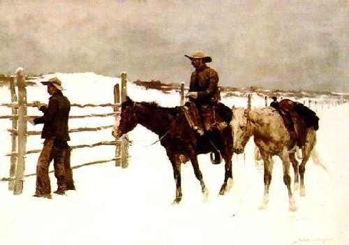 Frederick Remington The Fall of the Cowboy Germany oil painting art