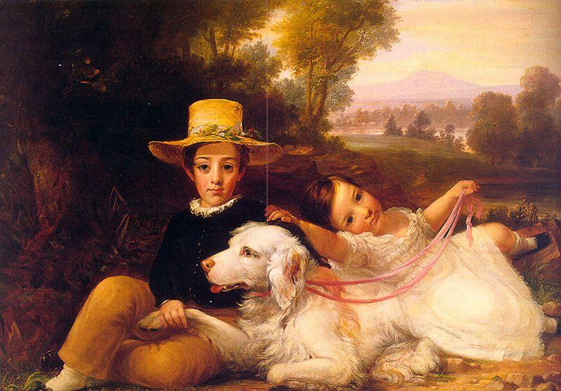 George Henry Harlow Portrait of Two Young Children oil painting image