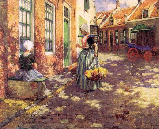 George Hitchcock Dutch Flower Girls Germany oil painting art