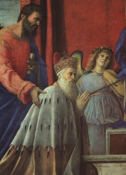 Giovanni Bellini The Doge Barbarigo, St John and Musician Angels (Detail) oil painting image