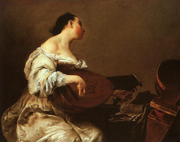 Giuseppe Maria Crespi Woman Playing a Lute oil painting image