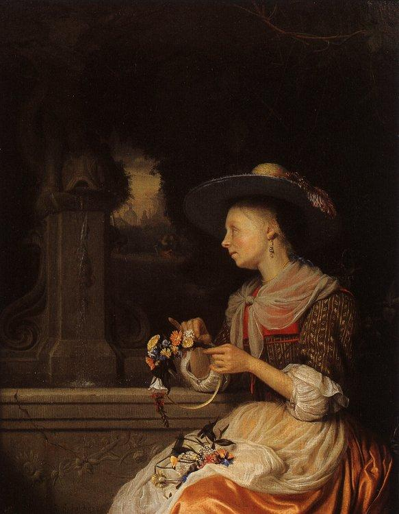 Godfried Schalcken Young Woman Weaving a Garland Germany oil painting art