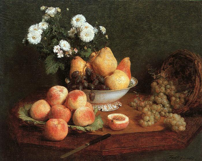 Henri Fantin-Latour Flowers and Fruit on a Table oil painting image