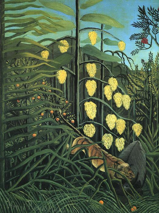 Henri Rousseau In a Tropical Forest: Fight Between a Tiger and a Bull Germany oil painting art