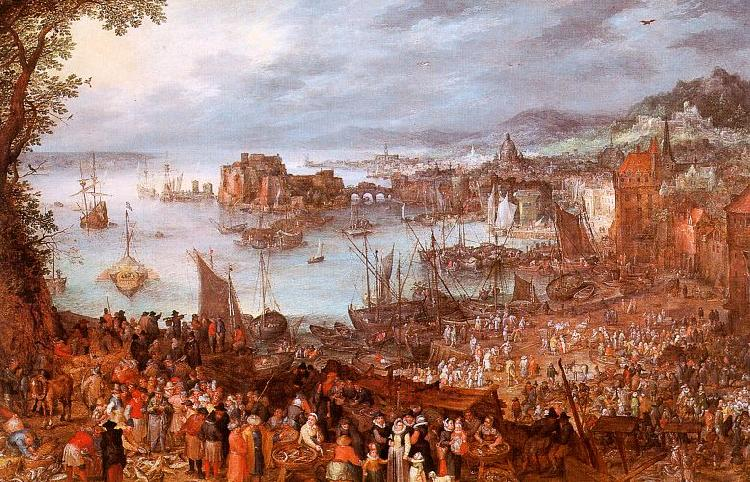 Jan Brueghel The Great Fish Market oil painting image