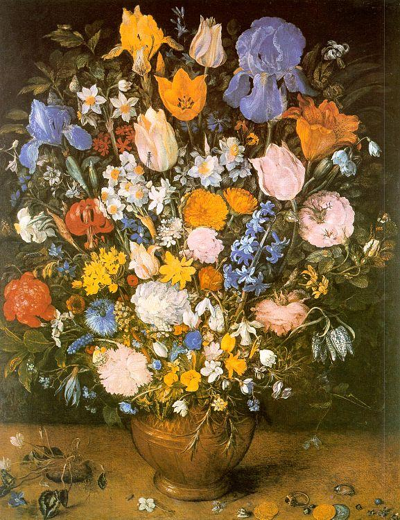 Jan Brueghel Bouquet of Flowers in a Clay Vase oil painting image