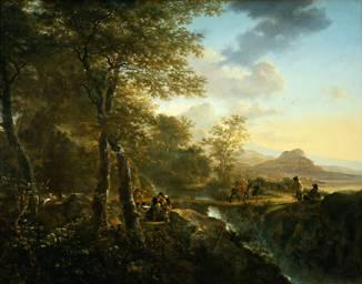 Jan Dirksz Both Italian Landscape with Draughtsman oil painting image