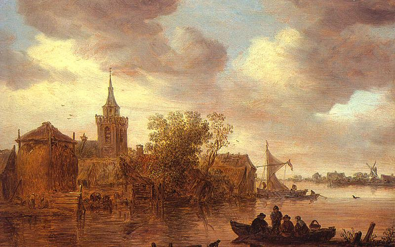 Jan van  Goyen A Church and a Farm on the Bank of a River oil painting image