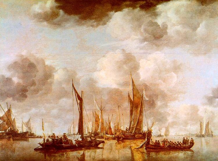 Jan van de Cappelle A Dutch Yacht and Many Small Vessels at Anchor oil painting image