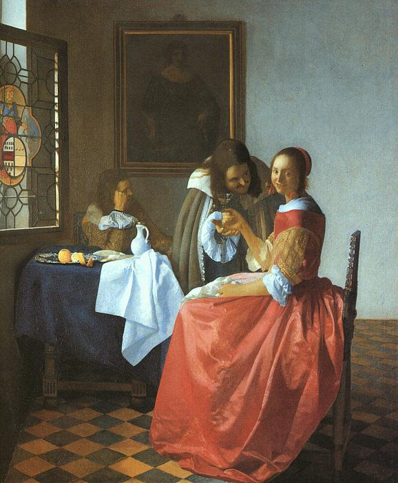 JanVermeer A Lady and Two Gentlemen oil painting image