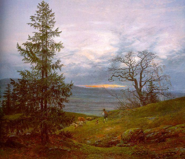 Johan Christian Dahl Evening Landscape with Shepherd oil painting image
