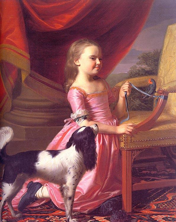 John Singleton Copley Young Lady with a Bird and a Dog Germany oil painting art