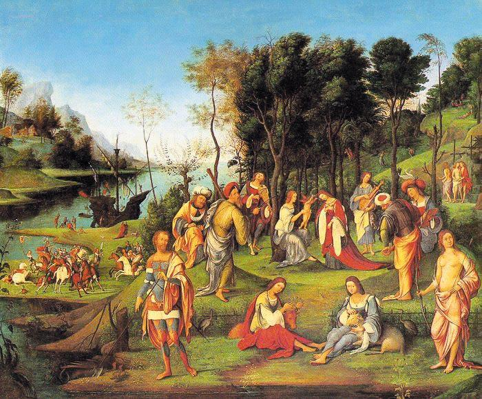 Lorenzo  Costa Allegory of the Court of Isabella d'Este oil painting image