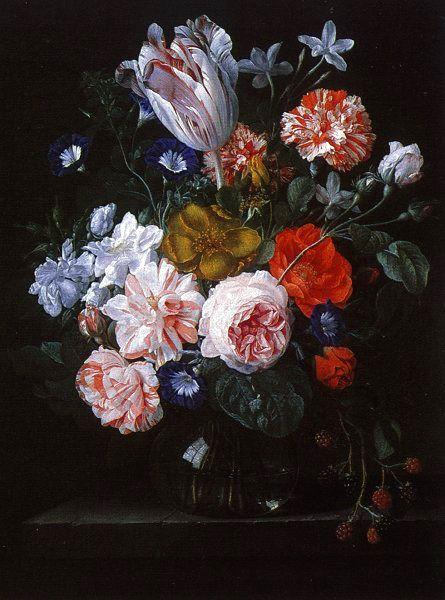 Nicolaes Van Verendael A Tulip, Carnations and Morning Glory in a Glass Vase oil painting image