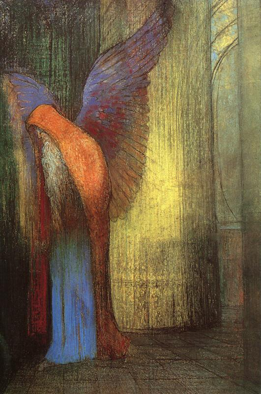 Odilon Redon Winged Old Man with a Long White Beard Germany oil painting art