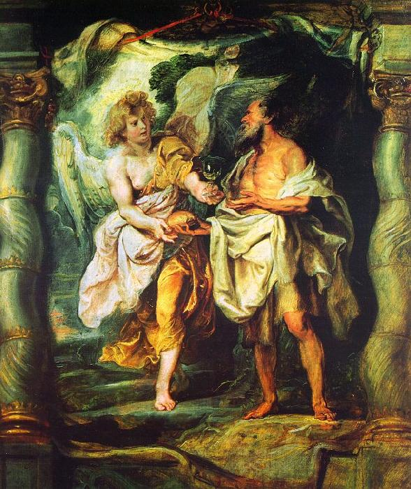Peter Paul Rubens The Prophet Elijah Receiving Bread and Water from an Angel Germany oil painting art