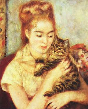 Pierre Renoir Woman with a Cat Germany oil painting art