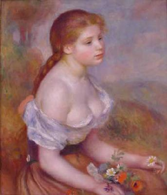 Pierre Renoir Young Girl With Daisies Germany oil painting art