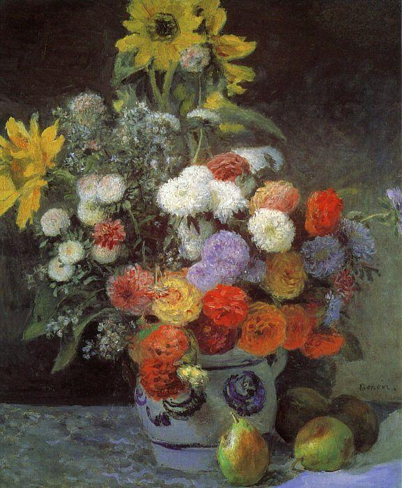 Pierre Renoir Mixed Flowers in an Earthenware Pot oil painting image