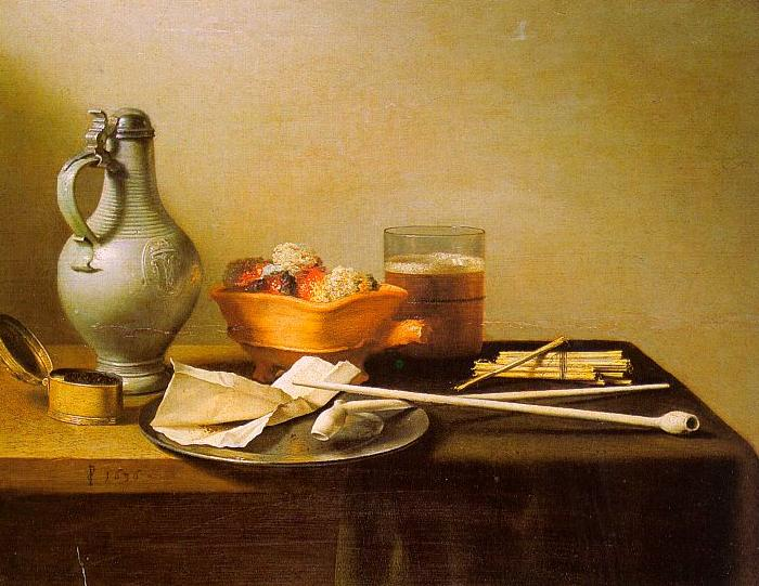 Pieter Claesz Pipes and Brazier oil painting image