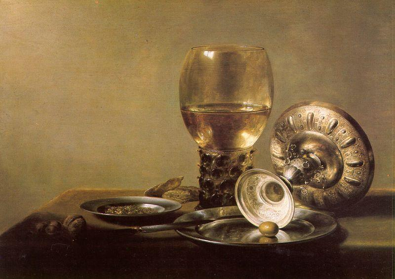 Pieter Claesz Still Life with Wine Glass and Silver Bowl oil painting image
