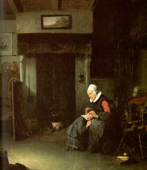 Quirijn van Brekelenkam Woman Combing a Child's Hair oil painting image