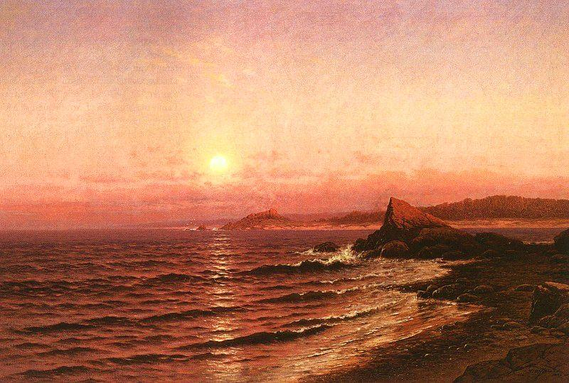 Raymond D Yelland Moonrise Over Seacoast at Pacific Grove Germany oil painting art