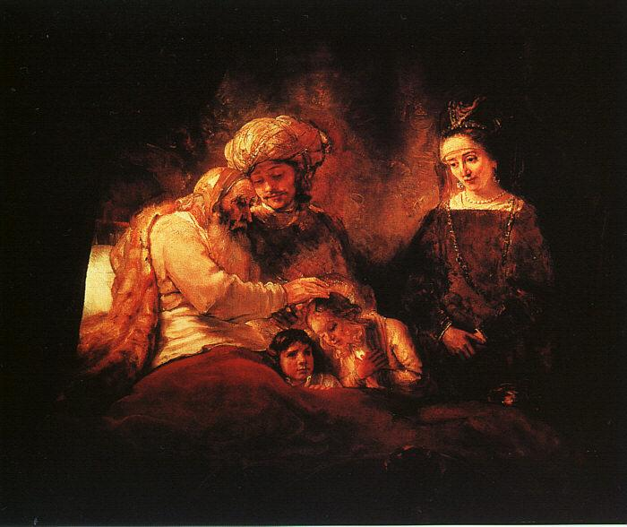 Rembrandt Jacob's Blessing Germany oil painting art