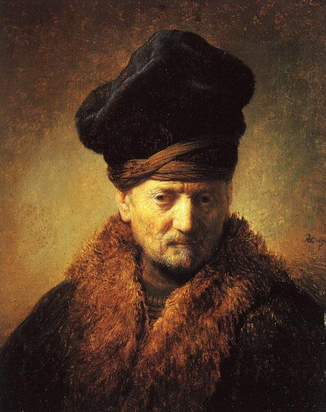 Rembrandt Bust of an Old Man in a Fur Cap Germany oil painting art