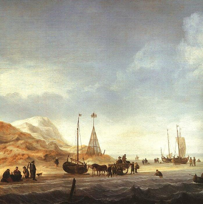 Simon de Vlieger A Beach with Shipping Offshore Germany oil painting art