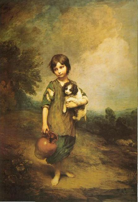 Thomas Gainsborough A Cottage Girl with Dog and Pitcher oil painting image