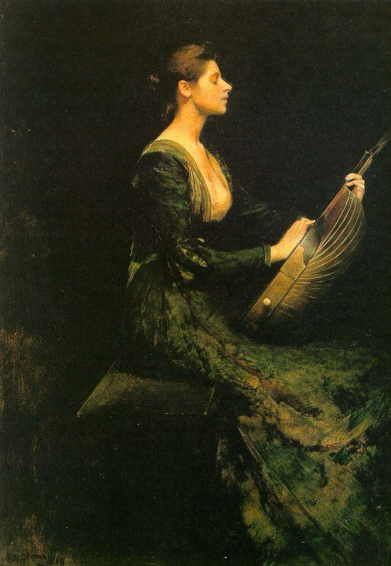 Thomas Wilmer Dewing Lady with a Lute Germany oil painting art