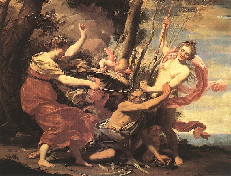 VOUET, Simon Father Time Overcome by Love, Hope and Beauty hf oil painting image