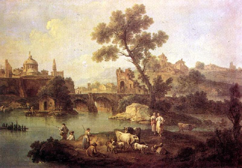 ZAIS, Giuseppe Landscape with River and Bridge oil painting image