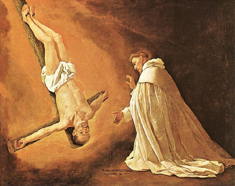 ZURBARAN  Francisco de The Apparition of Apostle St Peter to St Peter of Nolasco oil painting image